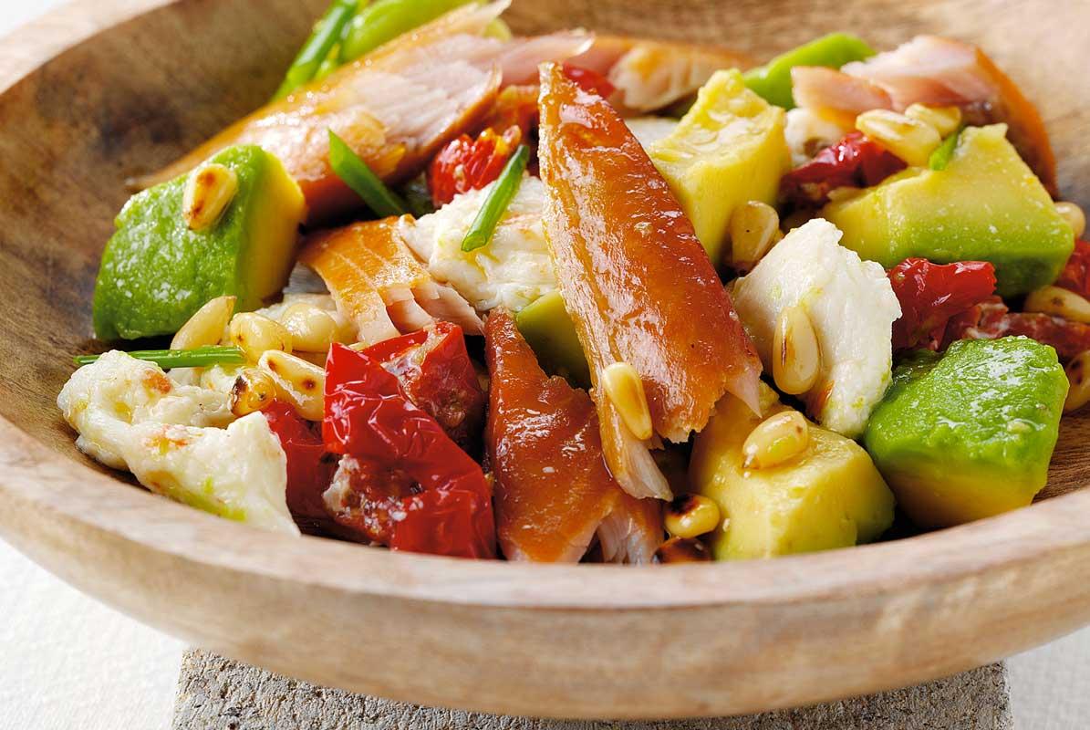 Smoked Mackerel, Avocado, Mozzarella and Sun-Blushed Tomato Salad